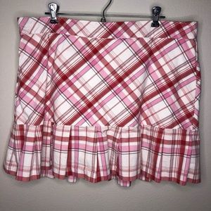 Lady Hagen Pink Ribbon Plaid Ruffled Golf Skort